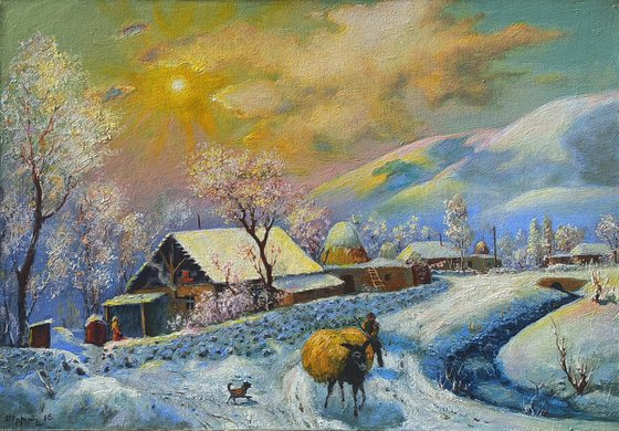 Warm winter (50x70cm, oil painting, ready to hang)