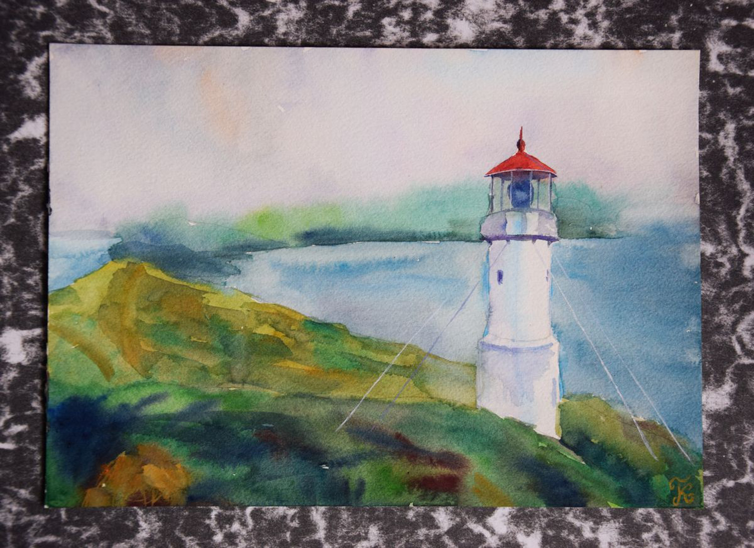 Watercolor painting Lighthouse on Faroe Islands