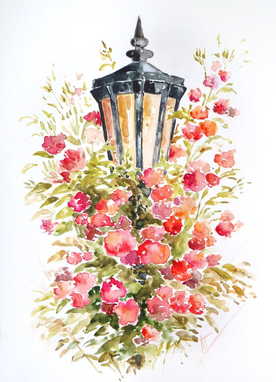 Watercolor street lamp with red and pink roses original painting