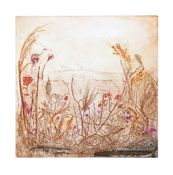 "Heike Roesel ""Summer Garden 1"", fine art etching in variation, edition of 10"