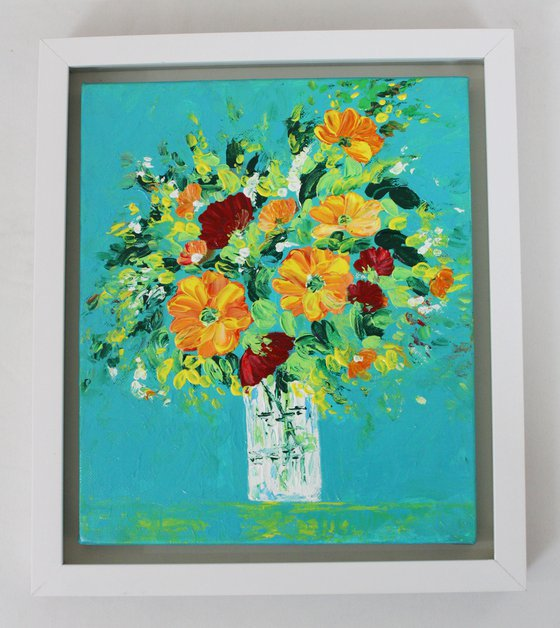 My Colourful World - Floral Still life painting - Palette knife impasto artwork - Home Decor or office art