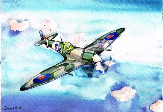 Spitfire,Aviation, Supermarine, Airplane, Original Watercolour painting, not a print , Original 1