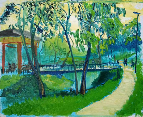 Sunny day in the park. Pleinair painting