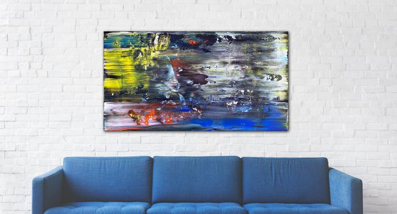 """""""Alma"""" - Original PMS Abstract Acrylic Painting On Reclaimed Wooden Panel - 52"""" x 28"""""""