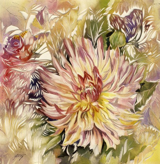 dahlia watercolor with paper cut