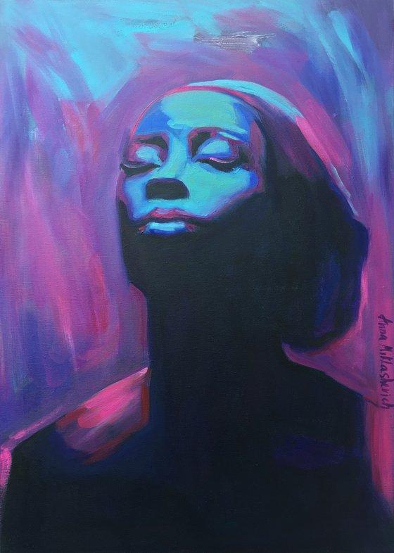 ENERGIZE - African American wall art canvas, black woman portrait original painting, afrocentric purple decor afro artwork
