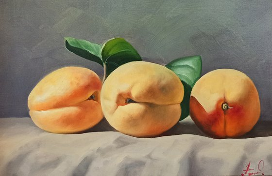 Still life with apricot-2 (20x30cm, oil painting, ready to hang)
