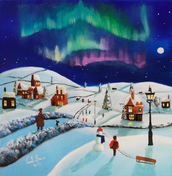 Winter village, folk art painting, oil on canvas naive art