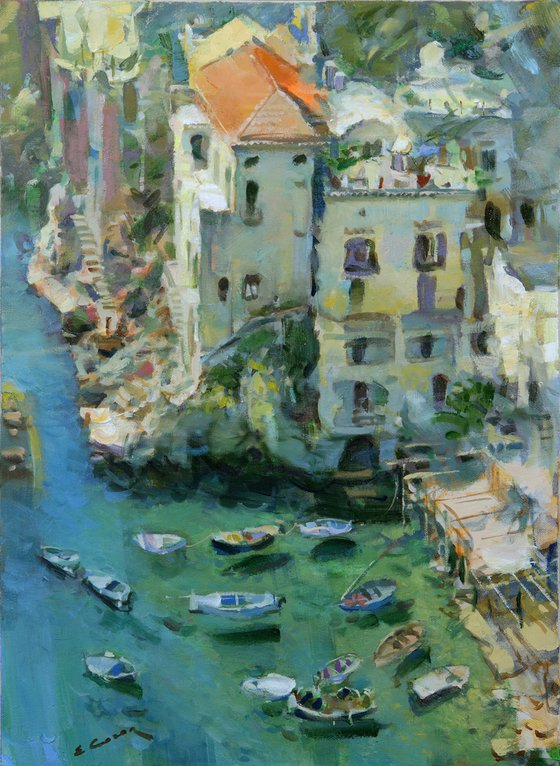 """Original Oil Painting on Canvas """"Boats in Capri"""""""