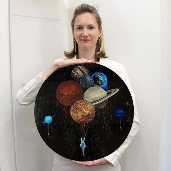 I will never stop flying  PLEXIGLASS art object planet planets solar sistem round circle space science