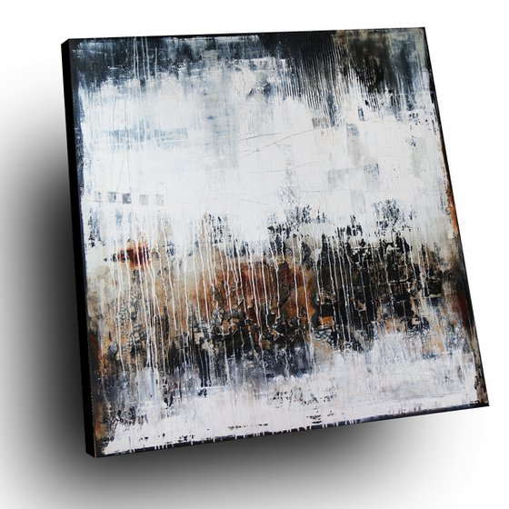 MAGIE NOIRE - ABSTRACT ACRYLIC PAINTING TEXTURED * CONTRASTING COLORS * READY TO HANG