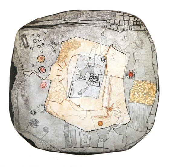 "Heike Roesel ""Schatzkarte"" (treasure map), fine art etching, edition of 25 in variation"