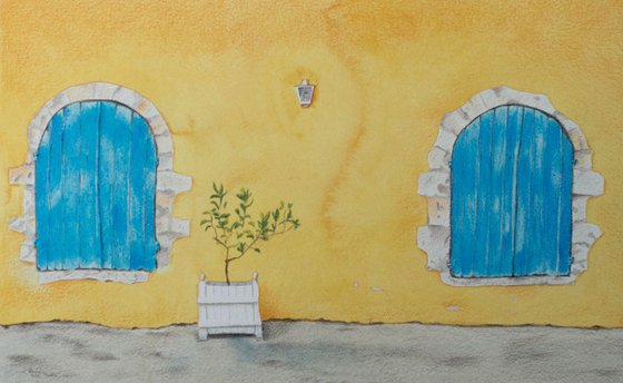 Blue Havana Shutters - Rustic windows on a bright yellow washed wall in Cuba