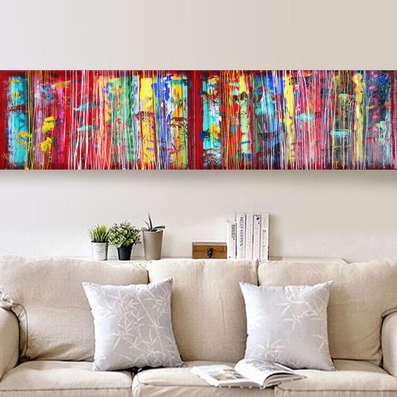 Rainbow A360 Large abstract paintings Palette knife 50x200x2 cm set of 2 original abstract acrylic paintings on stretched canvas