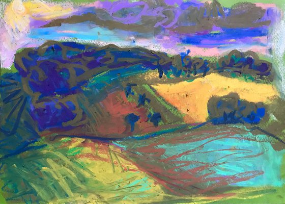 Landscape With Purple Sky