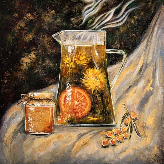 Autumn mood   30*30 cm   Still life with tea, honey and sea bucktorn