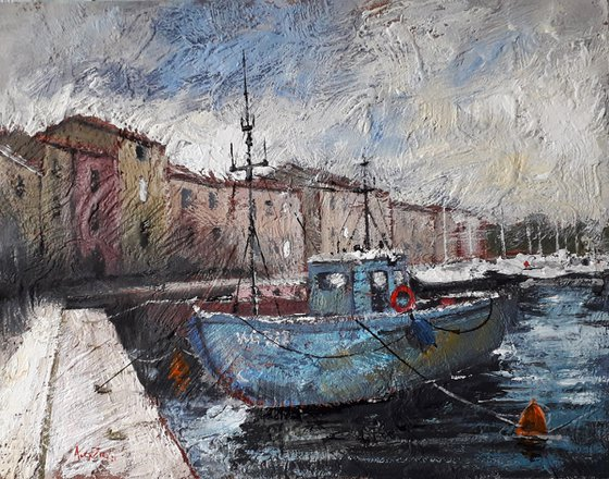 Fishing boat Texture painting
