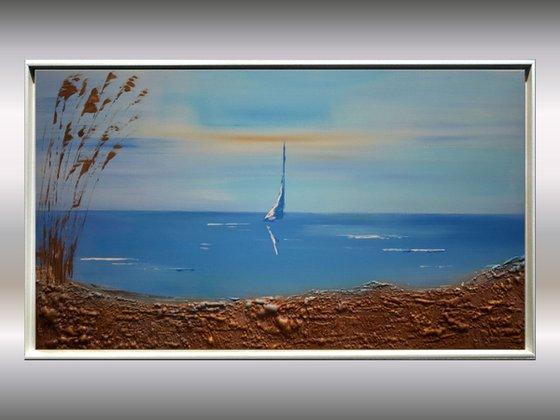 Seaview - Abstract- Painting- Acrylic Canvas Art - Wall Art - Framed Art - Blue Art - Modern Art