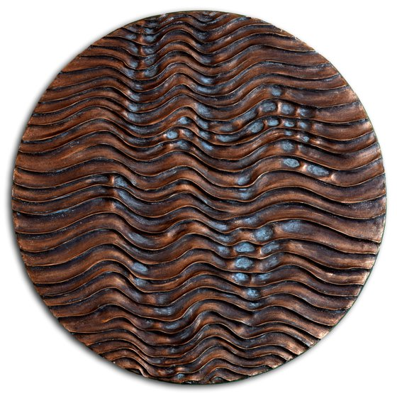 Round Erosion #02/10   Bronze Coated Wall Sculpture