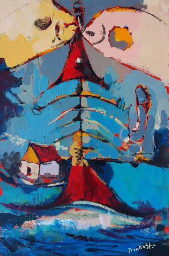 Abstract - House (60x40cm, oil painting, ready to hang)