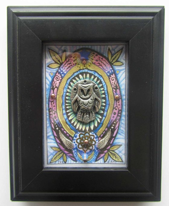 Owl totem art barn owl sculpture mixed media assemblage Limited Edition collage with gemstones