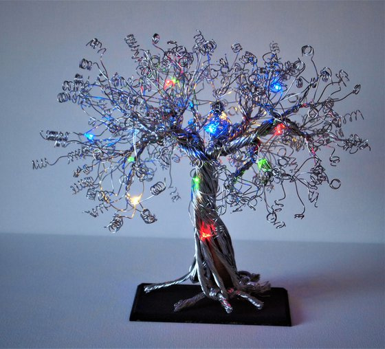 Silver Wire Tree & Bird Sculpture with LED lights