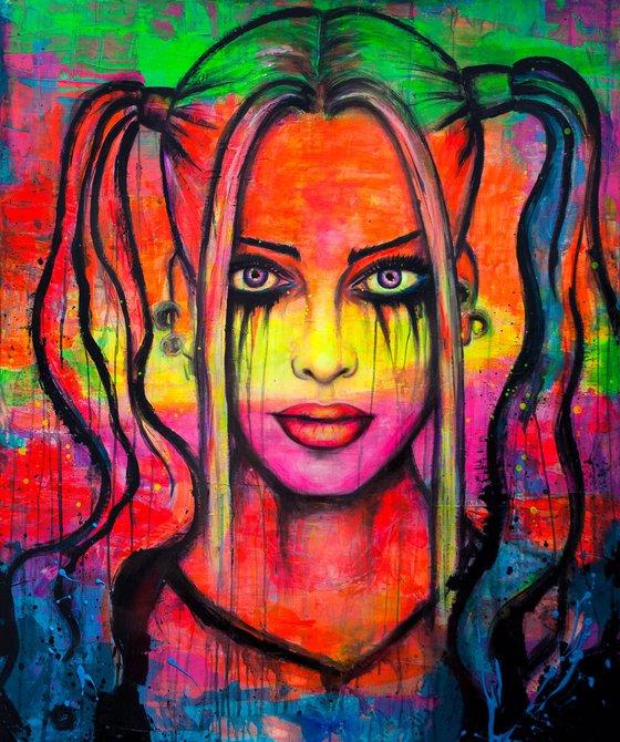 Harley Quinn UV Portrait Painting GLOW IN THE DARK Wall Art