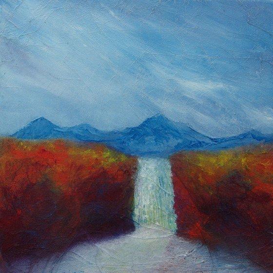 Scottish Highland waterfall, mountain landscape