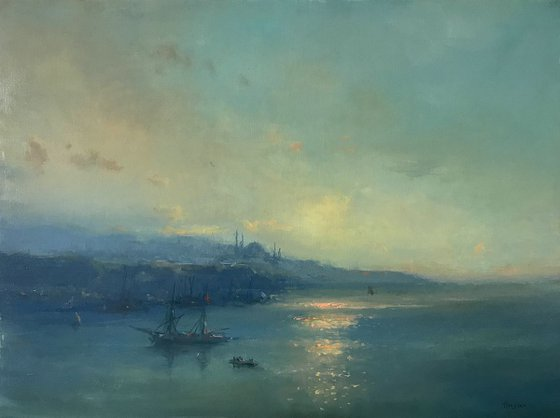 Istanbul Harbor, Original oil Painting, Handmade artwork, Museum Quality, Signed, One of a Kind