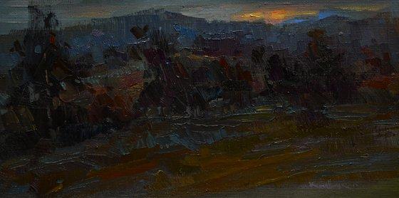 Dusk. evening landscape