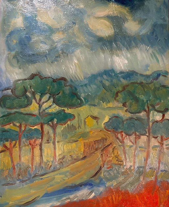 Italian landscape with rain