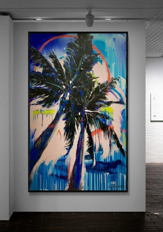 "very big artwork ""Blue palms"" 170х105 cm"