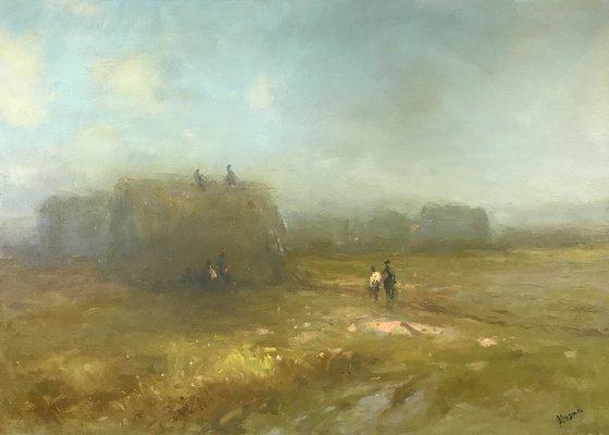 Haystacks, Antique Style,  Original oil Painting, Handmade arworkt, Impressionism, Signed, One of a Kind