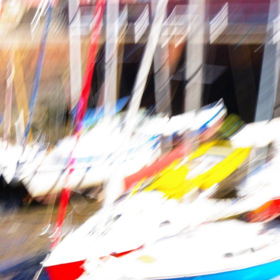 Red Yellow Blue, abstract impressionist colourful sailing boats
