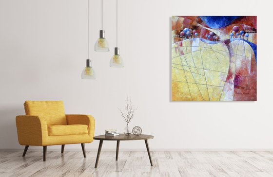 Landscape and trees in yellow  /  100 x 100 x 4 cm