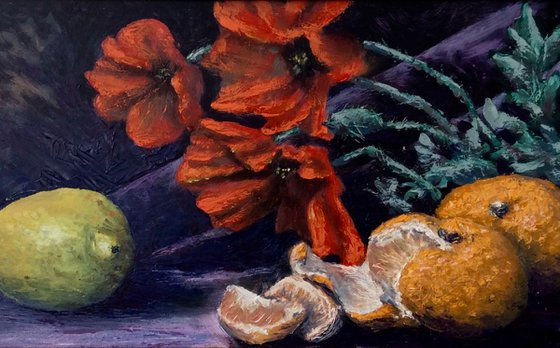 Poppies and citrus fruit