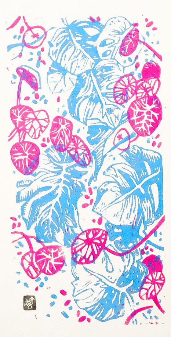 """""""Vertical garden""""(version FLUO- magenta/cyan)"""