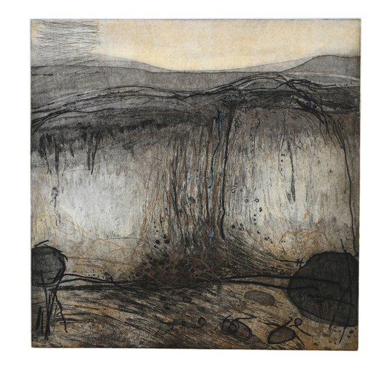 """Heike Roesel """"Rockfall"""", etching in variation in edition of 15"""