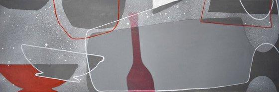 Abstract stillife Dancing Gray Bottles-2, canvas 47x16 inch