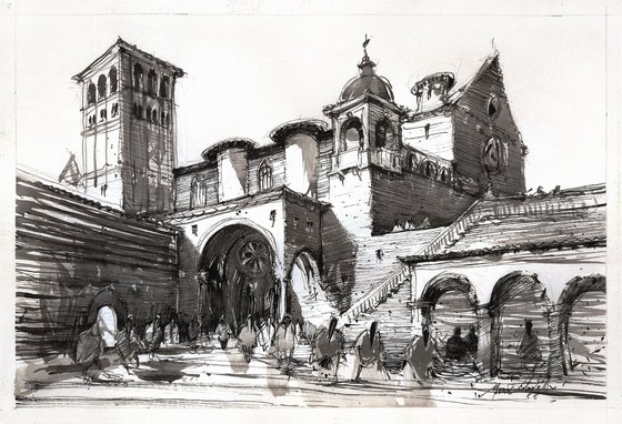 Assisi, original ink drawing artwork, Modern impressionistic art for home interior.