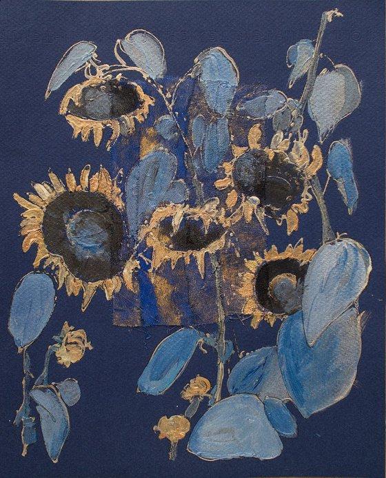 Golden blue sunflowers