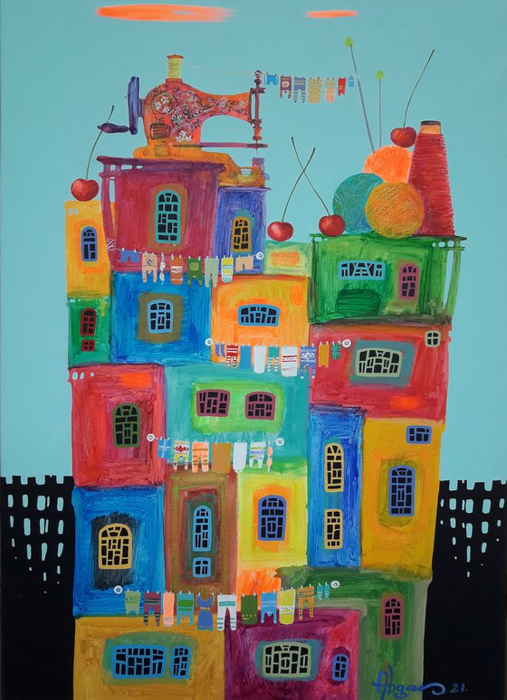 Childhood dreams-28 (50x70cm, oil painting, modern art, ready to hang)