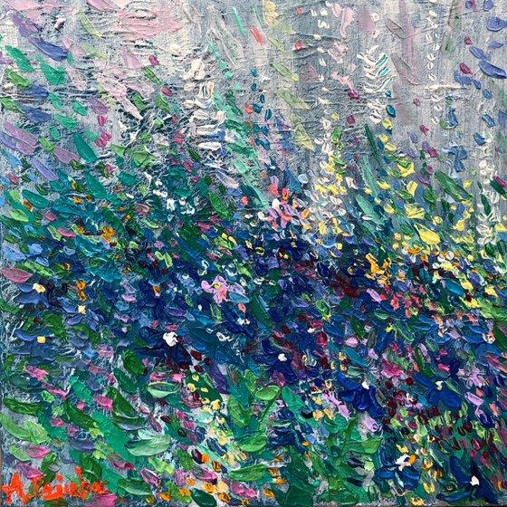 Wild Flower Meadow, Original Palette Knife blue flowers landscape