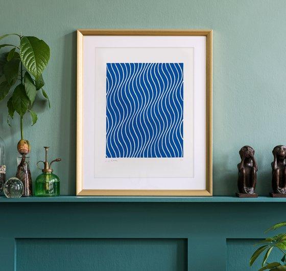 Rippling (Blue Geometric Linocut Print)