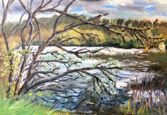 Lakes at Fordwich Kent An original oil painting