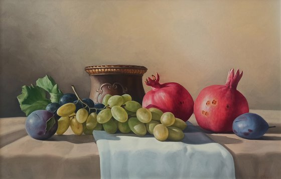 Still life with autumn fruits-3 (40x60cm, oil painting, ready to hang)