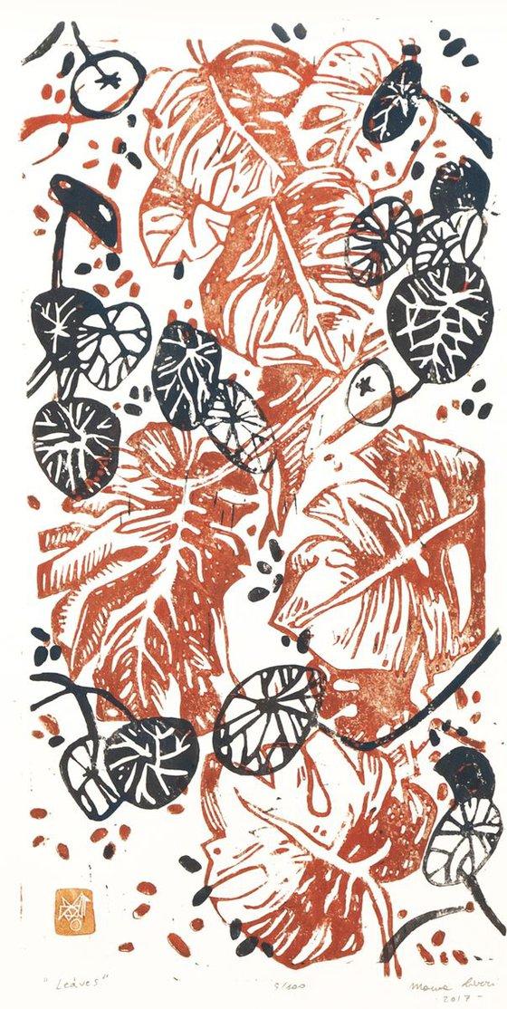 "LINOCUT PRINT- artistic print-illustration ""Giardino verticale"""