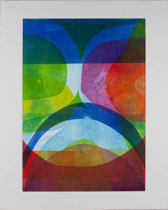 """Summer in the Islands - Mounted and Backed 50cm (20"""") x 40 cm (16"""") Original Signed Monotype"""