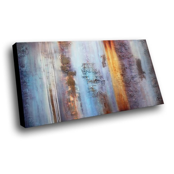 """APRIL SKY - XXL ABSTRACT PAINTING TEXTURED * INDUSTRIAL CHIC * PASTEL COLORS * 71"""" x 39"""""""