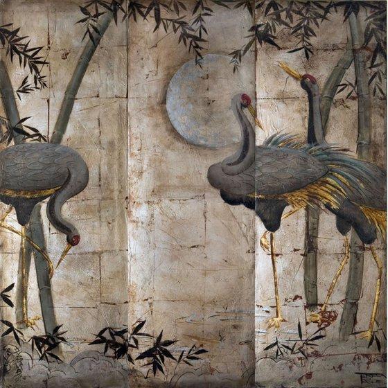 Cranes on silver